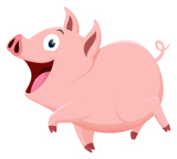 Cute Pig Cartoon Sticker
