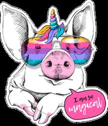 Cute Pig In A Unicorn Mask: Rainbow Glasses Sticker