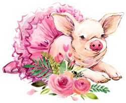 Cute Pig In Dress Watercolor Illustration Sticker