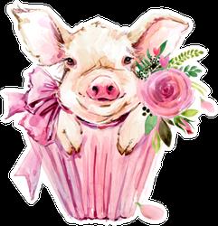Cute Pig Watercolor Illustration Sticker