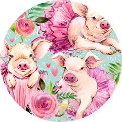 Cute Pig Watercolor Seamless Pattern Sticker