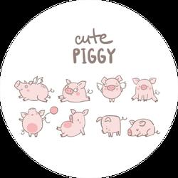 Cute Piggy Set Sticker