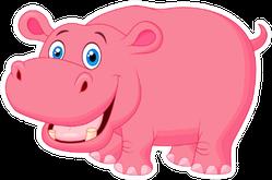 Cute Pink Hippo Cartoon Sticker