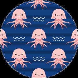 Cute Pink Jellyfish Seamless Pattern Sticker