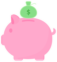Cute Pink Piggy Bank With Money Bag Sticker