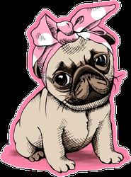 Cute Pink Puppy Pug With A Headband Sticker