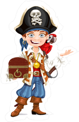 Cute Pirate Boy With Red Parrot Sticker