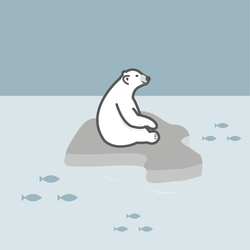 Cute Polar Bear On Ice Sticker