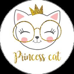 Cute Princess Cat With A Glitter Crown Sticker