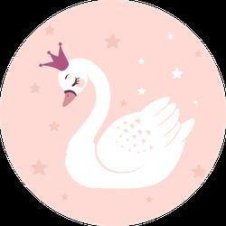 Cute Princess Swan On Pink Background Sticker