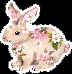 Cute Rabbit In Flowers. Watercolor Sticker