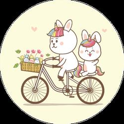 Cute Rabbits Unicorn Riding A Bicycle Cartoon Sticker