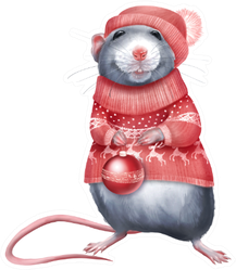 Cute Rat In Red Sweater Holding A Christmas Ball Sticker