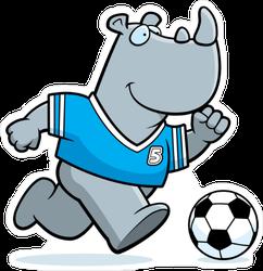 Cute Rhino Playing Soccer Sticker