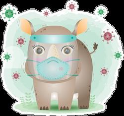 Cute Rhino Using Face Shield And Mask Sticker