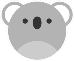 Cute Round Koala Graphic Sticker