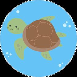 Cute Sea Turtle Under Water Illustration Sticker
