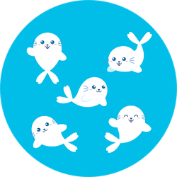Cute Seal Animal Cartoon Set Bright Blue Sticker