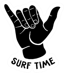 Cute Shaka Sign With Surf Time Sticker