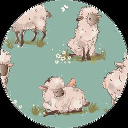Cute Sheeps Seamless Pattern Sticker