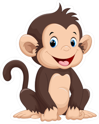 Cute Sitting Monkey Cartoon Sticker