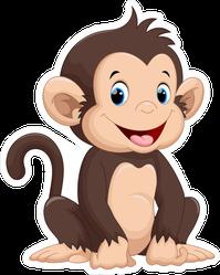 Cute Sitting Monkey Cartoon Sticker
