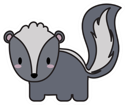 Cute Skunk Kawaii Illustration Design Sticker
