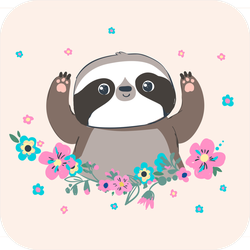 Cute Sloth In Flowers Sticker