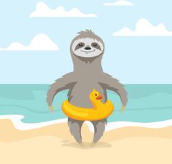 Cute Sloth On The Beach Sticker
