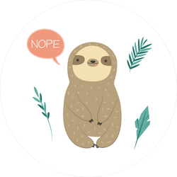 Cute Sloth Saying Nope Sticker