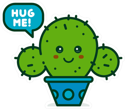 Cute Smiling Happy Cactus Saying Hug Me Sticker