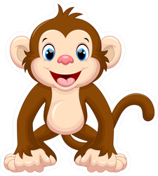 Cute Smiling Monkey Cartoon Sticker