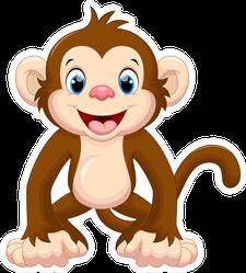 Cute Smiling Monkey Cartoon Sticker