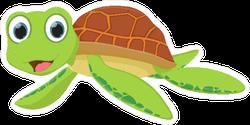 Cute Smiling Sea Turtle Cartoon Sticker