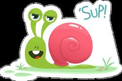Cute Snail Cartoon Saying Sup Sticker