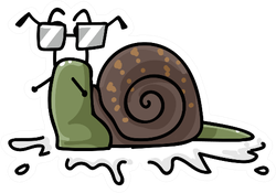Cute Snail With Glasses Sticker
