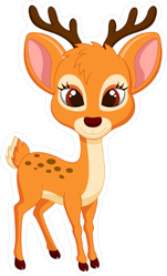 Cute Spotted Deer Cartoon Sticker