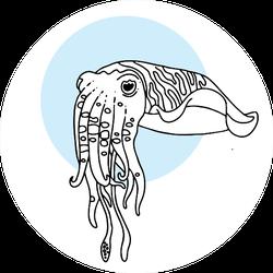 Cute Squid Cartoon On Blue Circle Sticker