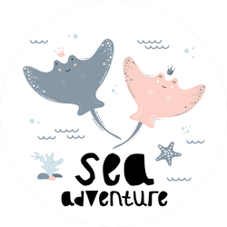 Cute Stingrays, Sea Adventures Illustration Sticker
