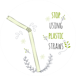Cute Stop Using Plastic Straws Sticker