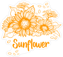 Cute Sunflower Art Sticker