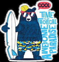 Cute Surfer Bear Sticker