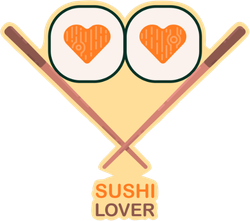 Cute Sushi Lover With Chopsticks Sticker