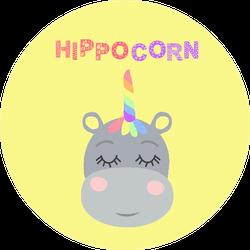 Cute Sweet Little Hippo With A Unicorn Horn Sticker