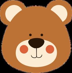 Cute Teddy Bear Head Sticker