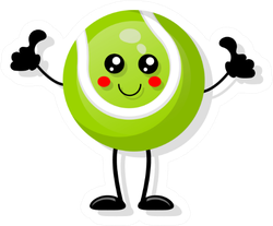 Cute Tennis Ball Giving Thumbs Up Sticker