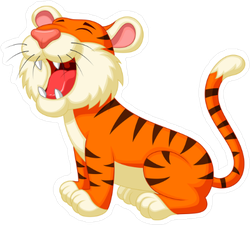 Cute Tiger Cartoon Roaring Sticker
