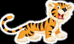 Cute Tiger Cub Roaring Sticker