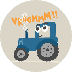 Cute Tractor Illustration For Kids Sticker