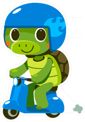 Cute Turtle on Moped Sticker